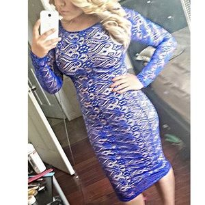 Royal Blue Crochet Type Dress